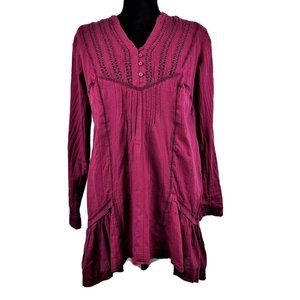 Free-People-Tunic-Top-S-Pink-Long-Sleeve-Peasant